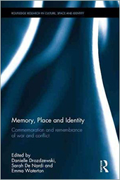 Cover of Memory, Place and Identity with blue and white Routledge swirl pattern.