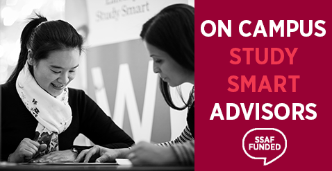 Study Smart service logo: Student working with Study Smart Advisor at the Study Smart desk