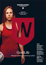 Cover of GradLife magazine featuring a female netballer in red, the red University W shield and a black background.