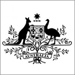 The Australian Government Coat of Arms in black and white