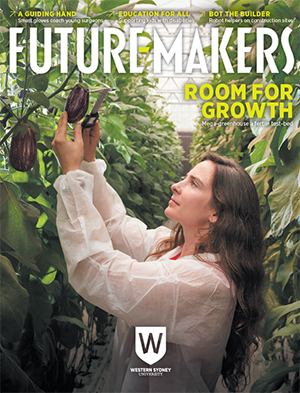 The Future-Makers 4 cover showing a woman measuring eggplant in a greenhouse.