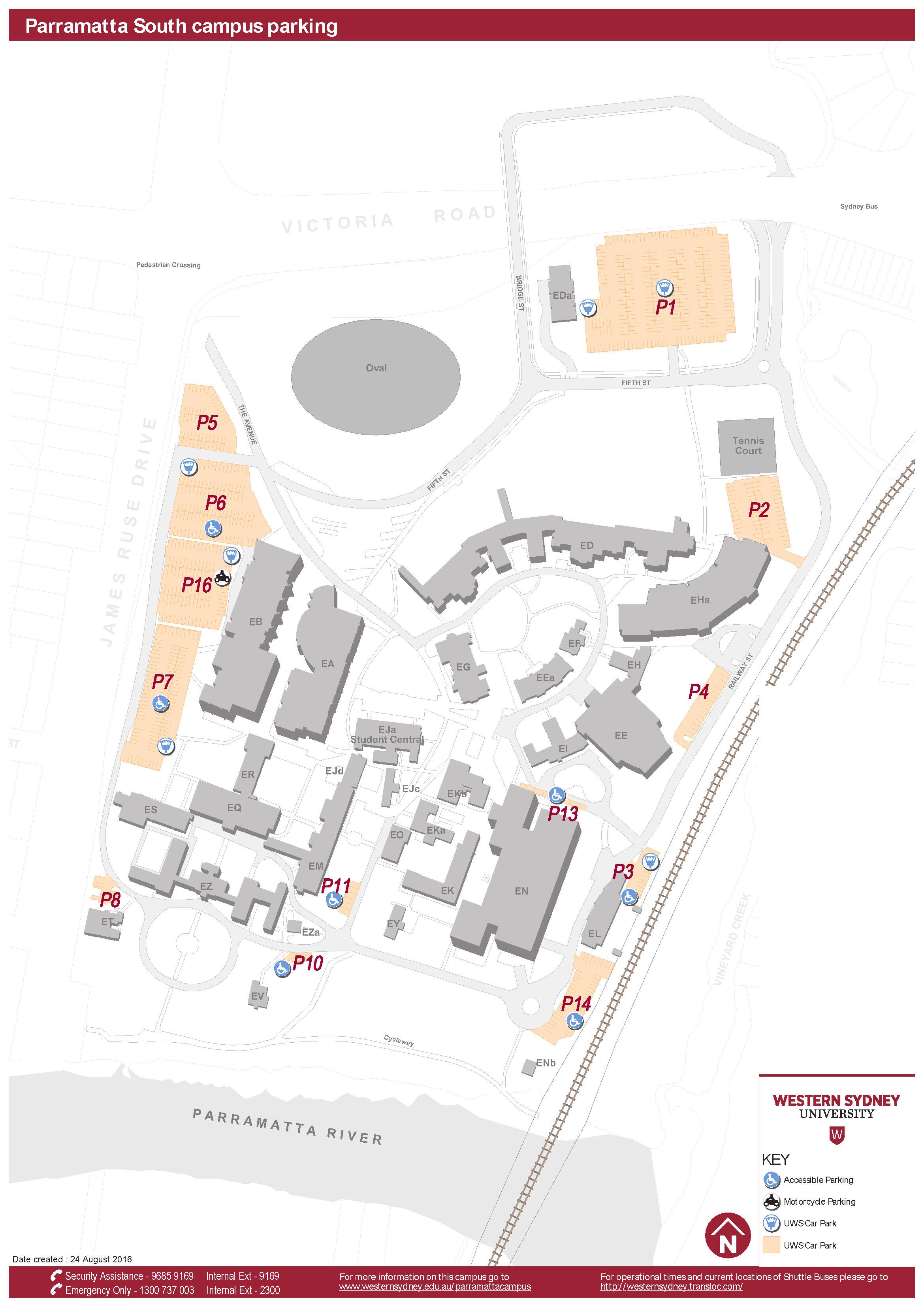 Parramatta South campus parking map