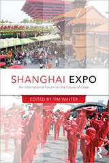 The cover of the Shanghai Expo book featuring two images from the Shanghai Expo. The top image shows crowds of people walking through the expo. The bottom image show rows of red men statues.