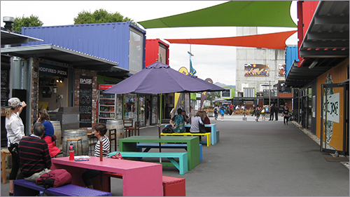 Looking down Cashel Street in Christchurch which now has an outdoor mall with shops in brightly coloured shipping containers.