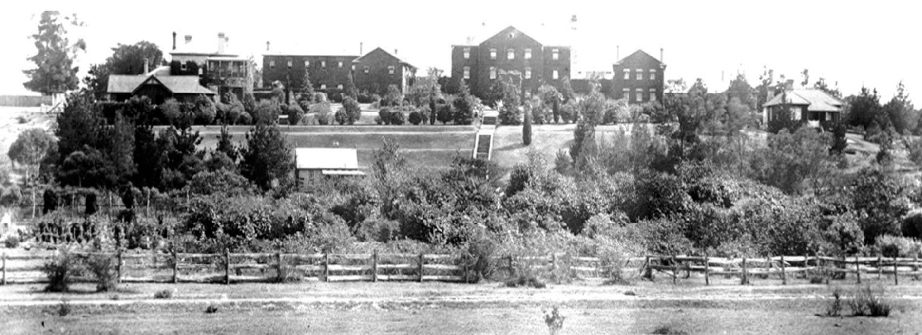 Rydalmere Psychiatric Hospital, around 1900 from Camelia on southern side of river