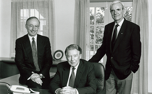 First Vice-Chancellor Brian Smith, First Chancellor Sir Ian Turbott and Deputy Chancellor Alex Dix