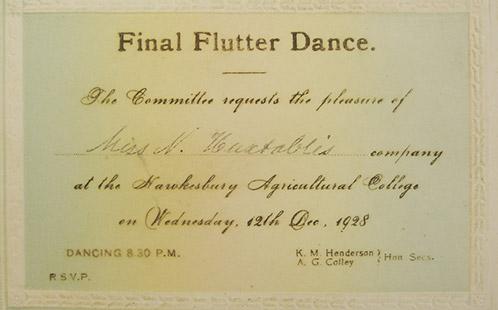 Invitation - Final Flutter Dance - 12 Oct 1928 (AI-11004)