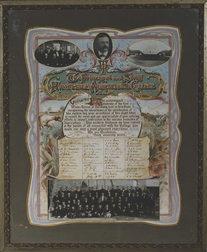 Framed, signed certificate of the first Winter School for farmers held at the College 1906 [Hawkesbury Agricultural College (HAC)] (P1661)