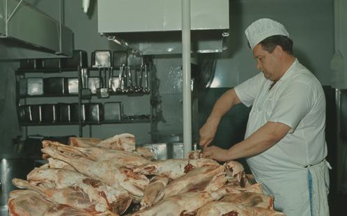 Butcher in kitchen