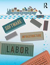 The cover of Software, Infrastructure, Labor which shows an illustration of a ship carrying shipping containers. The containers are falling off of the back of the ship into the ocean and the title of the book is written on them.