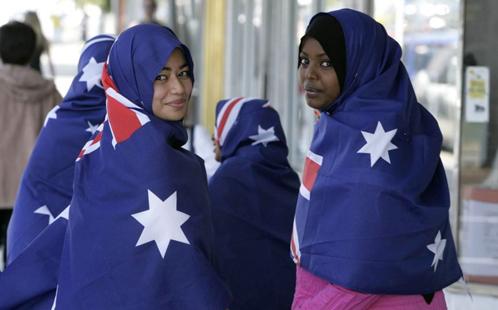 Women in Australian flag