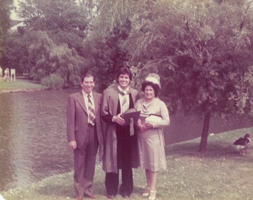 Professor David Rowe at his graduation with his parents