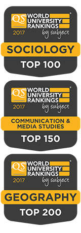 Three QS World University Rankings by subject shields: Sociology: Top 100, Communication & Media Studies: Top 150, Geography: Top 200.