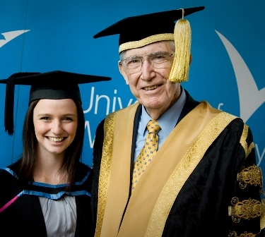 Graduate with UWS Chancellor at Grad Ceremony