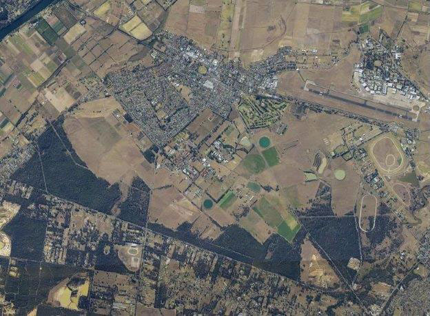 Aerial image of Hawkesbury campus amidst Richmond township
