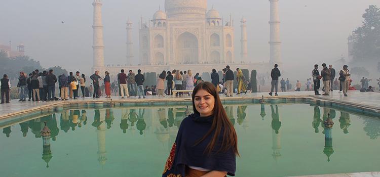 WSU student at Taj Mahal