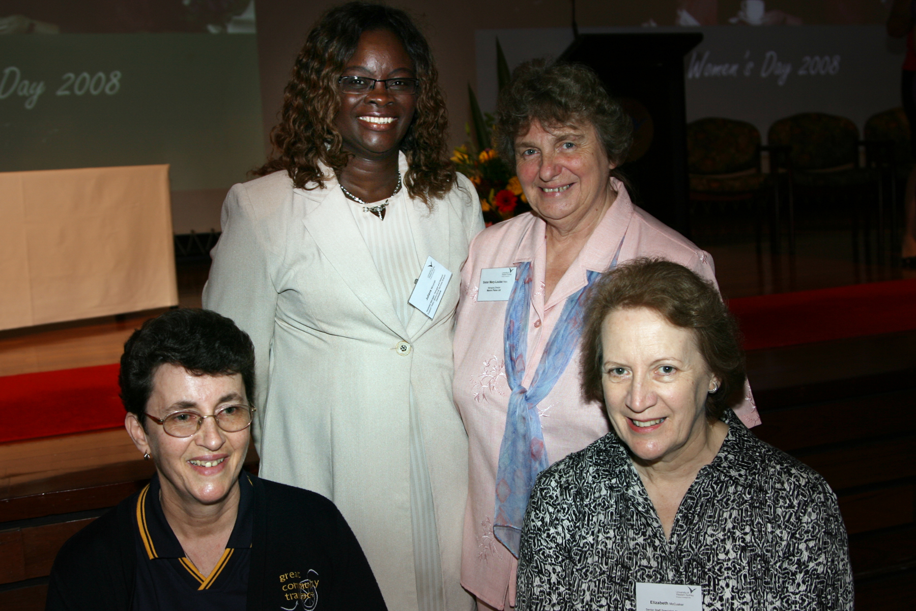 Past and present winners of UWS Women of the West Award. From L-R are Helen Walker OAM, Juliana Nkrumah, Sister Mary-Louise Petro and Dr Elizabeth McCusker.