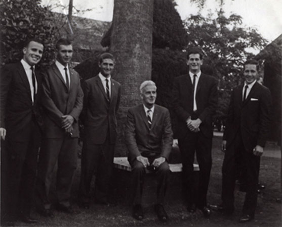 Diploma Day, 1970 s (print 1 of 4) - B Doman (Principal) with five graduating students [Hawkesbury Agricultural College (HAC)]