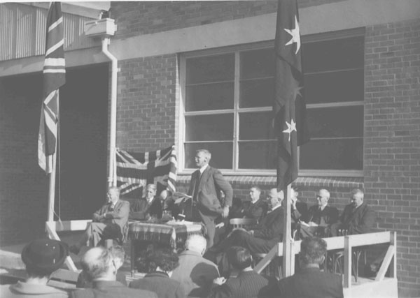 Opening of the Cannery and Packing House (3 of 6) - EA Southee (Principal) giving an address [Hawkesbury Agricultural College (HAC)]