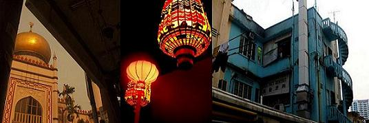 golden temple, red oriental lights and a run-down apartment