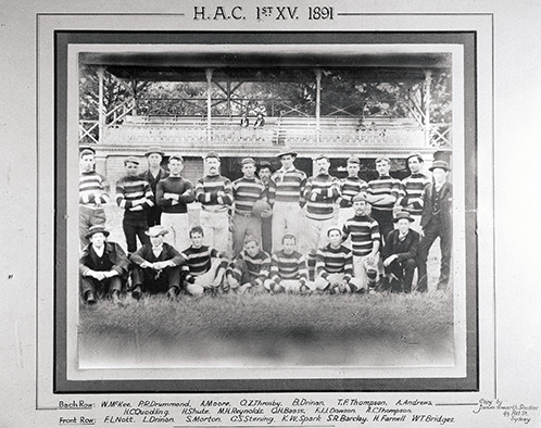 •	Football (Rugby Union) team - 1st XV, 1891 HAC (P621)