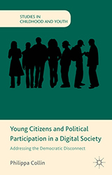 Cover of Young citizens and political participation in a digital society. Green background with black silhouette of young people.