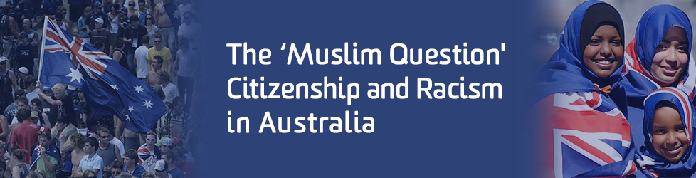 Blue banner featuring Australian flag and three young women in hijabs