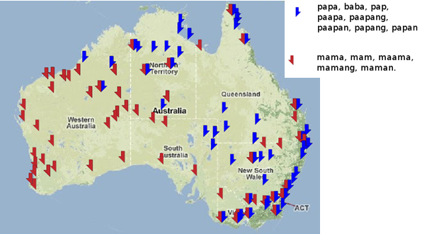 Distribution of mama-like and papa-like words in Australia.