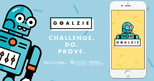 An illustration of a blue robot on a blue background with the words Goalzie. Challenge. Do. Prove. and the logos of the Young and Well CRC and Australian Government. A white mobile phone has the Goalzie robot on its screen.