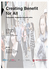 The cover of the Creating Benefit for All report featuring a group of young people walking down an alley on the cover.