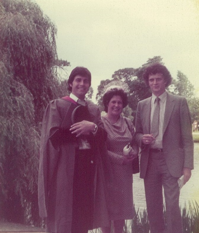 Professor David Rowe at his graduation with his mother and Professor Laurie Taylor
