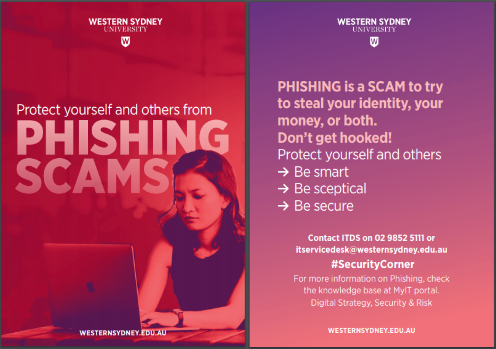 Phishing Scams awareness postcard