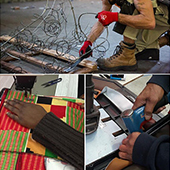 A collage of 4 images showing hands sewing and working with power tools, and sets of gloves.