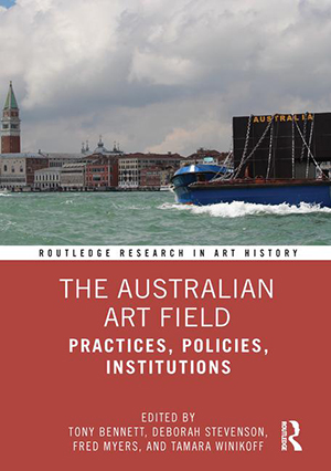 The Australian Art Field cover, picturing an image of a boat in a harbour.