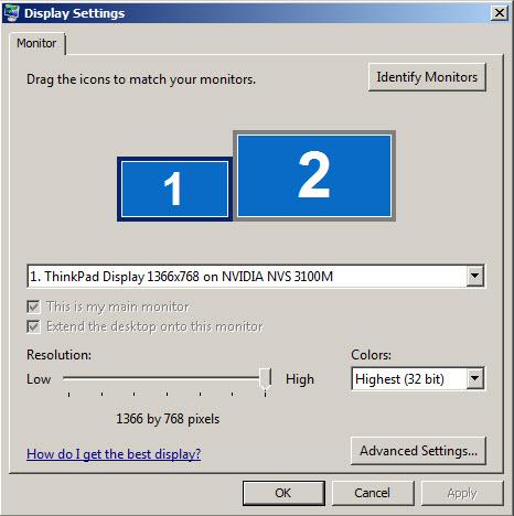 Second monitor set-up in Windows XP | Western Sydney University