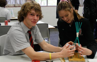 Bede Polding students build a tower