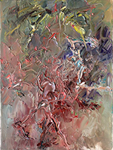 Chen Ping's painting: Red Flower Tree, Yellow Bird, Complex Emotions, 2012.