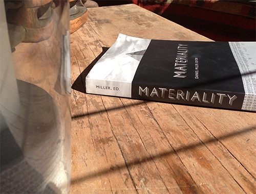 Materiality book on wooden table.