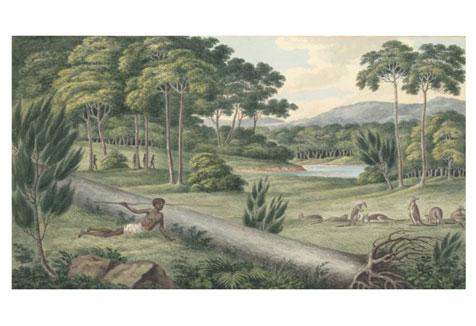 Aborigines hunting kangaroos