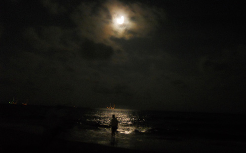 Man under moon