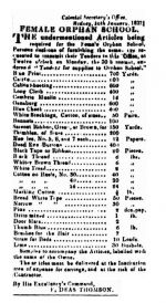 Tenders let by the Female Orphan School in 1837