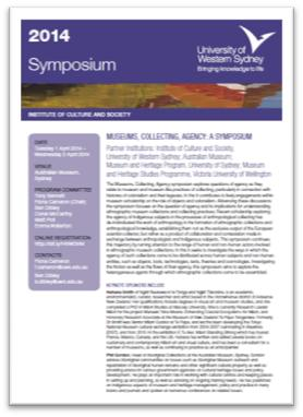 Screen grab of the Symposium program with white paper, black text and purple ICS design