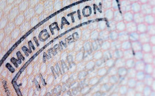Immigration stamp in passport