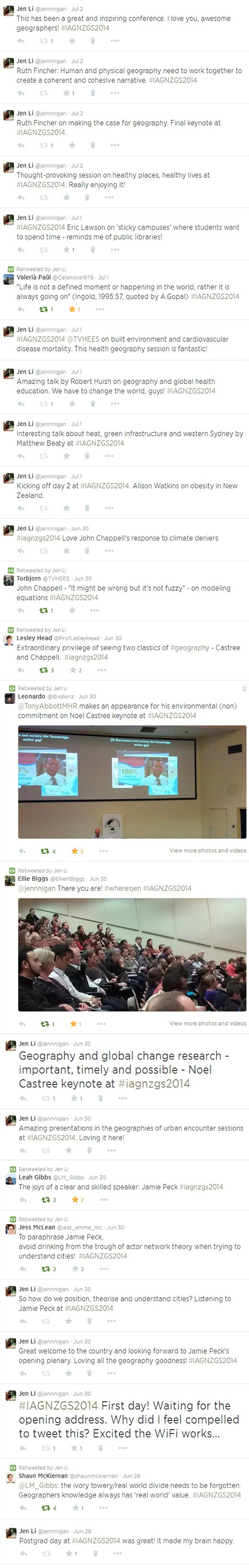 Jen Li's twitter feed from the IAG 2014 conference.