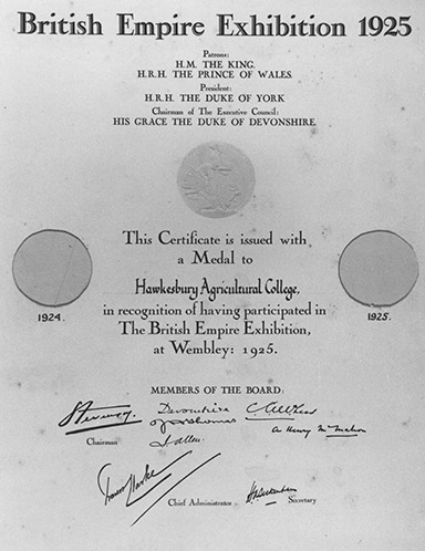 British Empire Exhibition, Wembley 1925 - Certificate of participation [Hawkesbury Agricultural College (HAC)] (P1157)