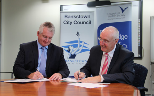 Bankstown City Council General Manager, Matthew Stewart, and UWS Vice-Chancellor, Professor Barney Glover
