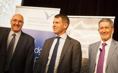 Professor Barney Glover, Premier Mike Baird, Professor Phillip O'Neill