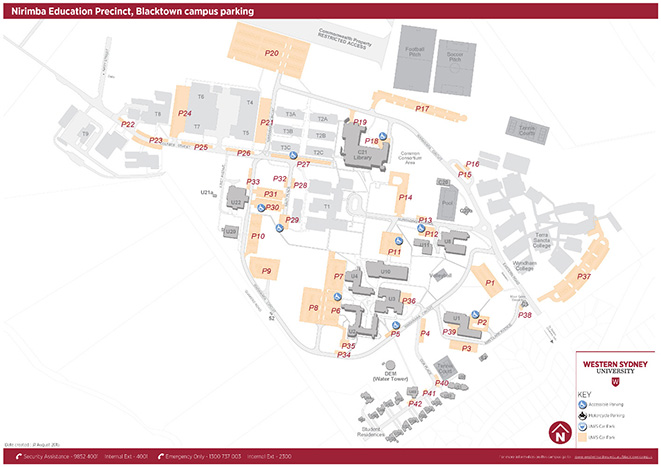 Blacktown campuus (Nirimba Education Precinct) parking map