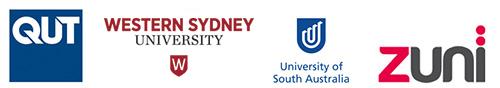 Logos of Queensland University of Technology, Western Sydney University, University of South Australia, Zuni.