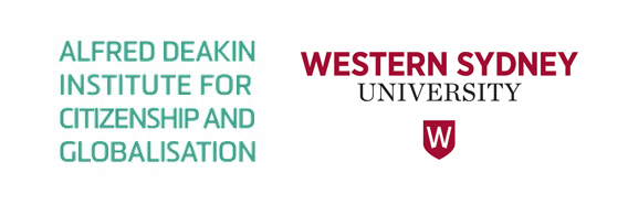 Alfred Deakin Institute for Citizenship and Globalisation logo, and Western Sydney University logo